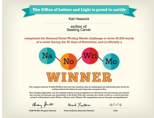 NaNoWriMo Finishing Certificate