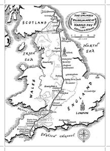 This map details Harold's walking journey in The Unlikely Pilgrimage of Harold Fry.
