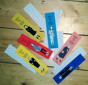 Walsh's women writers bookmarks, courtesy of her website http://badaude.typepad.com/.