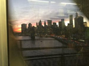 NYC through dirty subway window.