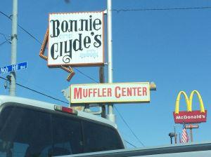 Pickup, muffler, McDonald's, American flag. Home.