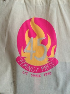 Our new tote bags celebrating our 45th birthday--I like to think of it as the fire of feminism burning down the patriarchy.