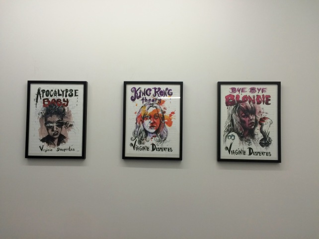 Since I was resident in a gallery, we were lucky to hang the original Molly Crabapple designed covers of all three of our Virginie Despentes books. The three dynamic women pictured in each cover proved inspiring muses for my week of writing.